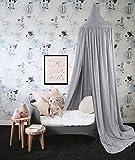 Baibu Deko Betthimmel Bettvorhang für Kinder,Moskitonetze Baldachin für Bett im Zimmer Grau