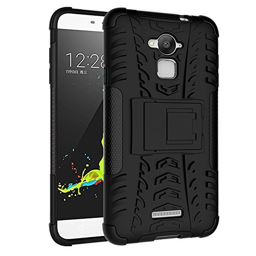 ImagineDesign™ Defender Tough Hybrid Armour Shockproof Hard PC + TPU with Kick Stand Rugged Back Case Cover for COOLPAD NOTE 3 - Black