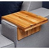 Moebelwerte TABLETT FÜR Sofa/Couch / Lounge ARMLEHNE - BREITE 20-25 cm - EICHENHOLZ RUSTIKAL VERSTELLBAR