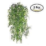 Lvcky 2Künstlichen Ivy Vine Aufhängen Vine Pflanzen Fake Grünpflanzen Ivy Girlande für Hochzeit Wand Outdoor Zum Aufhängen Übertopf Zaun-Gitter