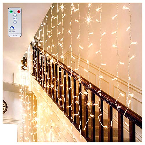 LED Curtain Lights Window Curtain Fairy Lights Warm White Ollny Icicle String Lights for Wedding Xmas Christmas Outdoor Party Decorations 306 LEDs 3m*3m
