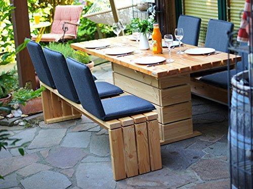Gartenmöbel Set 2 Holz, inkl. Sitzschalen, Oberfläche: Transparent Geölt Natur