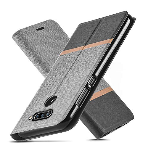 AModern LG V40 ThinQ Hülle, LG V40 Hülle, Ultra Slim Fit, Kickstand, Card Slot, TPU Bumper, Anti-Scratch, Flip Leder PU Wallet Case für LG V40 (Gray)