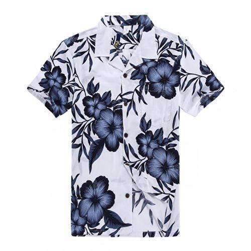 Hombres-Aloha-camisa-hawaiana-en-Azul-Marino-Floral-Blanco-3XL