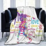 Papalikz Ultra-Soft Micro Fleece Soft And Warm Throw Blanket, Fashion, Woman Silhouette with Colorful Stains Love Dresses Happiness Theme Print,60' 50',Multicolor