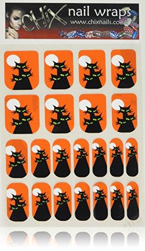 Hennen Nägel gelegentlichen Minx schicken Stil Gothic Halloween Finger Zehen Vinyl Folien Nail Wraps, Schwarz Katzen Scary Augen und Mond Print