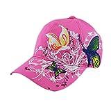 BZLine® Mode Femme Chapeau Hip-Hop en Coton | Casquette de Sport avec Fleurs, Papillons Bordés | Taille Ajustable, Multicouleur (Rose)