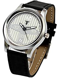 Traktime New Edge White Round Dial Analogue Wrist Watch For Men / Women With Black Leather Strap