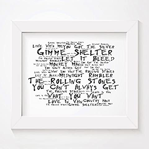 'Noir Paranoiac` Poster Affiche d'art - THE ROLLING STONES - Let It Bleed - Edition signée et numérotée limitée typographie non encadré 20 x 25 cm la musique album mur art haute qualité d'impression - Song lyrics music poster