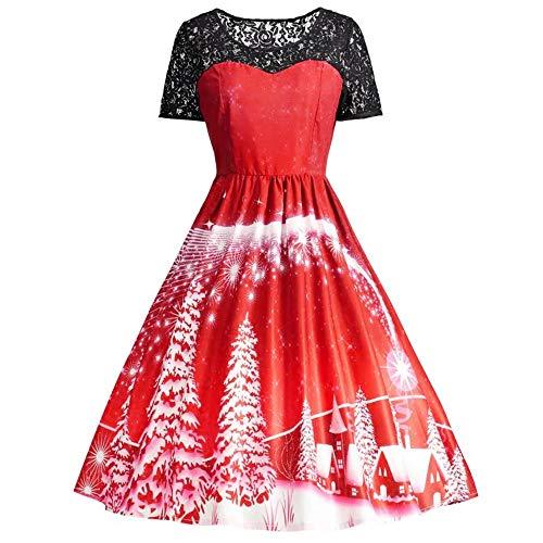 SEWORLD Weihnachten Retro Christmas Weihnachtsfrauen Frauen Kurzarm Spitze Patchwork Druckweinlese Kleid Partei Kleid(X1-rot,EU-38/CN-XL)