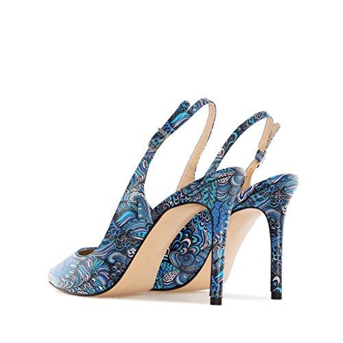 EDEFS Damen Slingback Pumps,High Heel Übergröße Damenschuhe,Schuhe mit Hohen Absätzen Mix-Blue