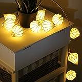 Multistore 2002 10er LED Lichterkette mit Länglichen Papierlampions, Licht warmweiß, Batteriebetrieb - Innenbeleuchtung Partybeleuchtung