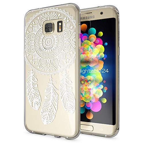 galaxy s 7 edge huelle NALIA Handyhülle für Samsung Galaxy S7 Edge, Slim Silikon Motiv Case Hülle Cover Crystal Schutzhülle Dünn Durchsichtig, Etui Handy-Tasche Backcover Transparent Bumper, Designs:Dreamcatcher