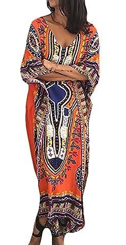 Damen Kaftan Maxikleid Strandkleid Vintage Fledermausärmel Floral Print Lang Kleider Batik Hochwertig Übergröße Boho Tunika Kaftankleid Sommerkleider