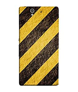 FUSON Designer Back Case Cover for Sony Xperia Z :: Sony Xperia ZC6603 :: Sony Xperia Z L36h C6602 :: Sony Xperia Z LTE, Sony Xperia Z HSPA+ (Yellow Black Cross Lined Pattern Footpaths Roads crazy Paints)