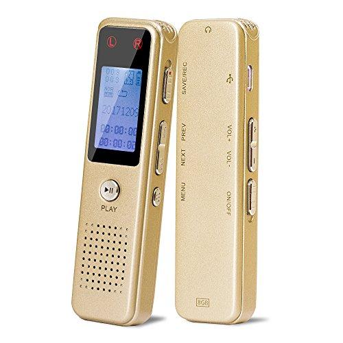 Digital Voice Recorder von Aurtec, 8GB 384Kbps Sound Audio Recorder Diktiergerät mit USB & MP3 Player, Voice aktiviert, Doppel-Mikrofon, Metallgehäuse, Gold (Activated Voice Mp3-player)
