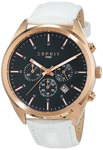 Esprit TP10626 Men's Quartz Watch with Grey Dial Analogue Display and White Leather Strap ES106261004