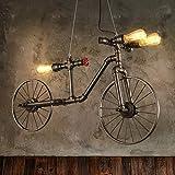 Wasserrohr Fahrrad Industrial Hängelampe Pendellampe Pendelleuchte Deckenlampe Vintage Retro Hängeleuchte für Küchen Esszimmer Schwarz E27 Leuchtmittel 60W mit 3 Fassung