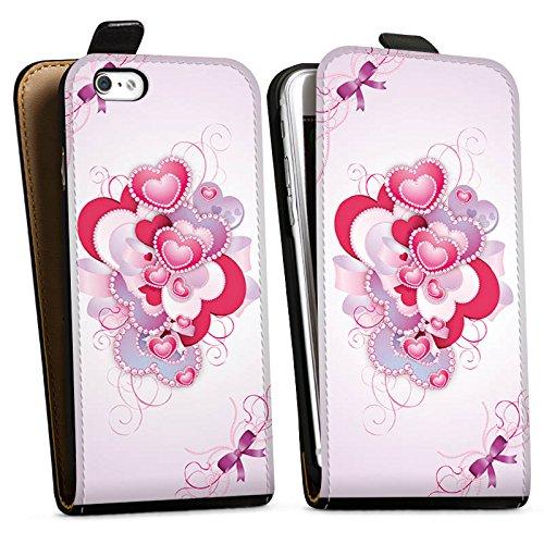 Apple iPhone X Silikon Hülle Case Schutzhülle Herz Luxus Love Muster Downflip Tasche schwarz
