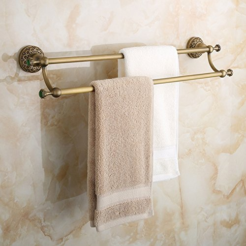 CZOOR Européenne bronze antique double serviette bar rétro sculpté vert jade serviette cintre serviette rack salle de bain matériel pendentif Jade Serviette
