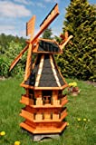 Windmühle 3 stöckig kugelgelagert 1,40m Bitum dunkel mit Beleuchtung Solar, Solarbeleuchtung