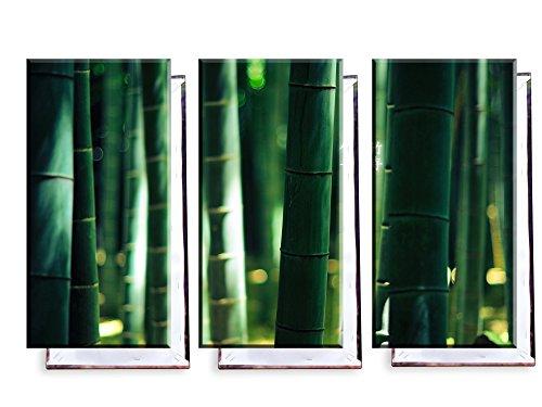 Bambus mit Chinesischen Zeichen - Dreiteiler (120x80 cm) - Bilder & Kunstdrucke fertig auf Leinwand aufgespannt und in erstklassiger Druckqualität - Insel Bambus-rahmen