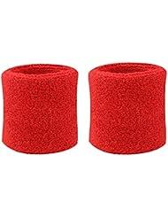Westeng Polsini Assorbisudore, polsino tergisudore professionale in cotone, per lo sport e lo yoga (rosso di 2 pezzi)
