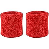 westeng Professional–Muñequeras Sweatband Athletic paño de algodón muñequera para deporte Yoga muchos colores choosed, Red x2