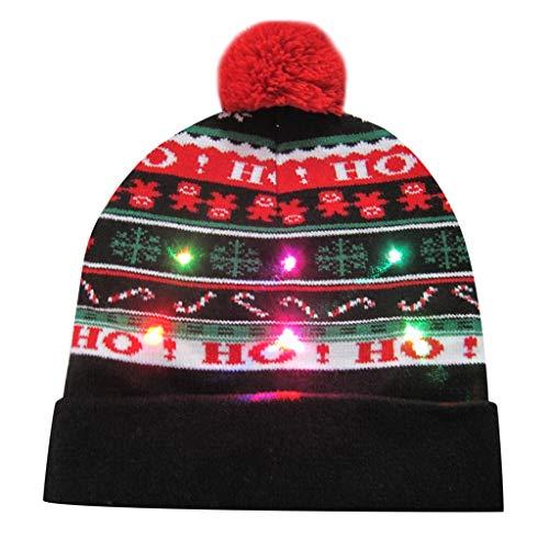 Huacat Weihnachts MützenLED Strickmütze Leuchten Neuheit Hässliche Xmas Party Cap für Herren Damen Jungen Mädchen Leuchten Beanie Weihnachten Mützen