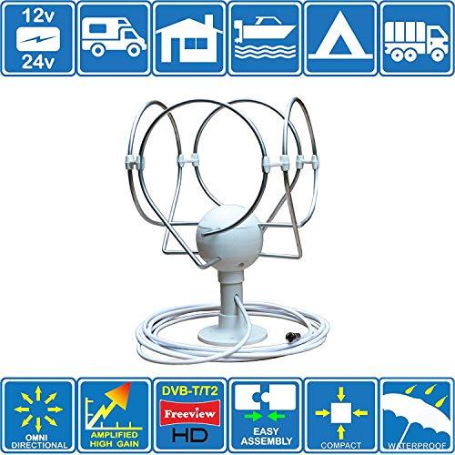 Unispectra KORONA TS LITE Digital-Antenne für Wohnmobil, Boot, Wohnwagen, Wohnmobil, LKW, Omni DIREKTIONAL TV/FM Amplified für DVB-T/T2 (Freeview HD)