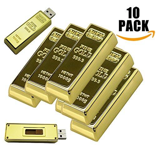 A Plus+ 10 Stück Goldbarren USB Stick Metall USB-Flash Drive Speicherstick (32GB USB 3.0)