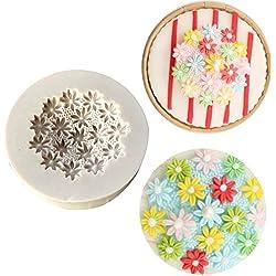 Molde de silicona para decoración de tartas, diseño de margaritas en 3D blanco