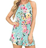 OSYARD Frauen Lässig Strand Overall, Damen Ärmellos Bandage Shorts mit Blumendruck Strampler in Melierter und Bedruckter Optik