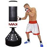 Max Strength - Sacco da boxe autoportante e resistente per arti marziali, 1,8 m, colore: bianco/nero
