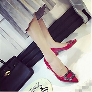 pwne Donna stivali inverno Mary Jane PU Casual Chunky Heel rosso US8.5 / EU39 / UK6.5 / CN40 US5.5 / EU36 / UK3.5 / CN35