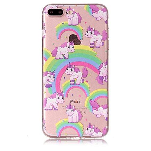"""Linvei Hülle für Apple iPhone 7 Plus(5.5"""")- TPU Silikon Backcover Case Handy Schutzhülle - Schlafende Katze und Bücher Schönes Regenbogenpferd"""