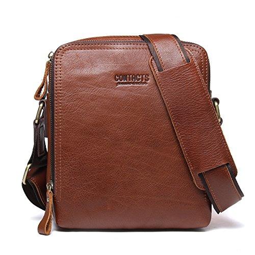 Contacts Echtes Leder Mens iPad Messenger Crossbody Tasche Tote Handtasche Braun (Messenger Bag Cross-strap)