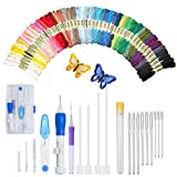 Magic Embroidery Pen Kit, Embroidery Pen Punch Needle Craft Tool Including 50 Color Threads and 9 Pieces Large-Eye Blunt Needles for Embroidery Threaders