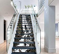 FLFK 3D Waterfall Landscape Stair Risers Sticker Removable Wall Murals Stickers Home Decor 39.3