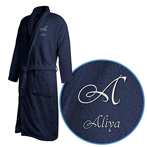 Bademantel mit Namen Aliya bestickt - Initialien und Name als Monogramm-Stick - Größe wählen Navy