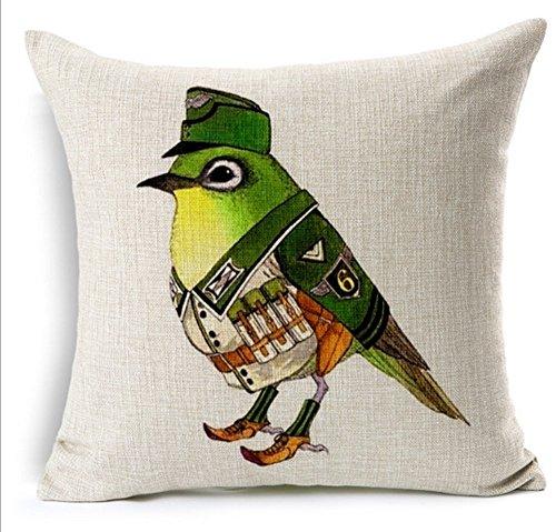 JeremyArtStore 18 x 18 Inches Decorative Cotton Linen Square Throw Pillow Case Cushion Cover Birds in Uniform Green Design