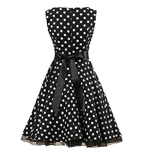 ... BININBOX Damen Rockabilly Kleid Retro 50er Kleid Festliche Kleider  Blumenmuster Rundausschnitt Partykleid Cocktailkleid knielang Schwarz- ...