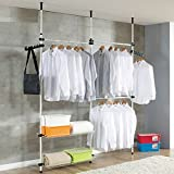 TOP-MAX Adjustable Telescope Coat Garment Hanging Rail Rack Moveable Ceiling to Wall Clothes Storage Stand Holder Hanger Closet Wardrobe Organiser with 3 Baskets