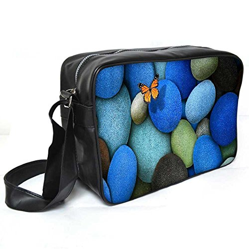 Snoogg Colorful Pebble Stone Leder Unisex Messenger Bag für College Schule täglichen Gebrauch Tasche Material PU (Pebble Leder-umhängetasche)