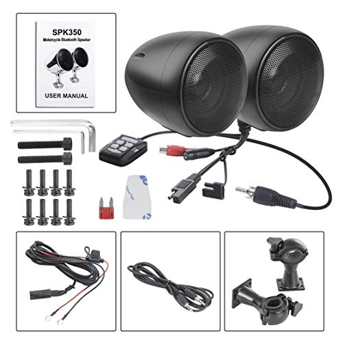 Full-featured Remote (LouiseEvel215 Tragbarer Lautsprecher Stereo SoundBox Freisprechen Motorrad SPK350B Mikrofon/Musikwiedergabe/Lautstärkeregler)