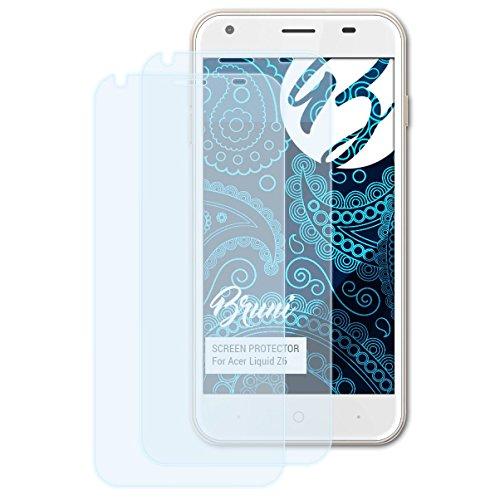 Bruni Schutzfolie für Acer Liquid Z6 Folie, glasklare Bildschirmschutzfolie (2X)