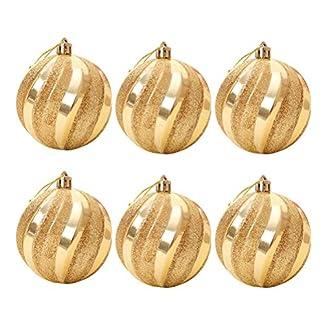 BESTOYARD Adornos de Bolas de Navidad Adornos de Bolas de Navidad árbol Adornos Colgantes Bola de Purpurina Fiesta navideña decoración del Partido 6pcs (Dorado)
