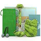 Certified Jade Roller and Gua Sha Set - Massage Tools for Drainage Puffiness Wrinkles Relaxation -100% Authentic Jade With Quality Certificate - BONUS Two Jade Hair Pins and Carrying Pouch