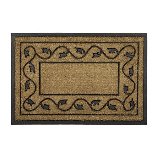 Relaxdays Fußmatte groß aus natürlichem Kokos und rutschfestem PVC Gummi als Fußabtreter für Innen & Außen mit dekorativem Muster als umweltfreundliche Kokosmatte rechteckig HBT 2 x 90 x 60 cm, natur