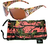 Hornz camuflaje del rosa polarizados gafas de sol de la muchacha del país del estilo de Camo & Free a juego bolsa de microfibra – Marco rosado de Camo - ámbar lente